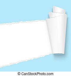 luz azul, rasgado, papel, abierto