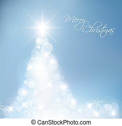 luz azul, resumen, árbol, navidad