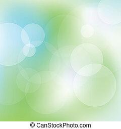 luz azul, resumen, vector, fondo verde