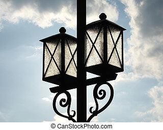 luz azul, rua, céu, equipamento