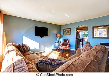 luz azul, sala, vivendo