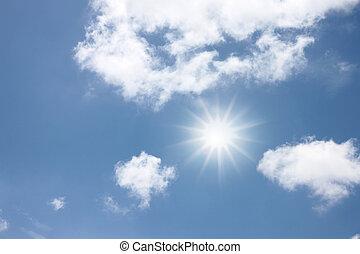 luz azul, sol, radial, sky.