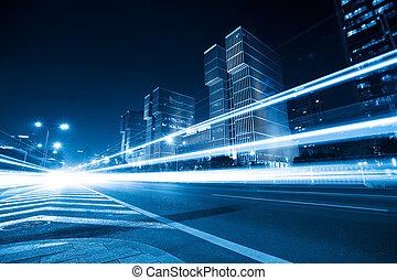 luz azul, tono, camino, senderos