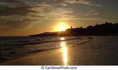 luz, beau, lagos., coucher soleil, algarve, plage, zone., ...