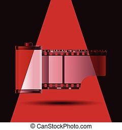 luz, bobina, vermelho, película