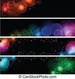 luz, bokeh, efecto, banderas
