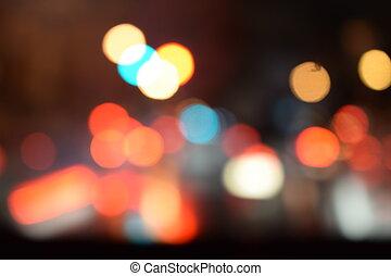 luz, bokeh, resumen, plano de fondo, noche