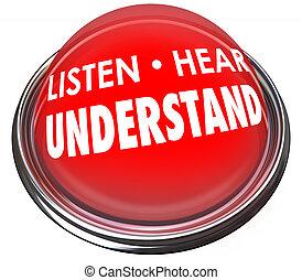 luz, botón, oír, comprensión, aprender, entender, rojo, escuchar