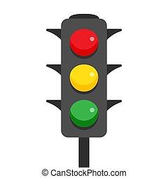 luz, branca, tráfego, fundo, ícone