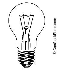 luz, branca, vetorial, fundo, bulbo