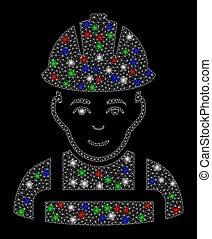 luz brilhante, malha, carcaça, trabalhador, manchas, contente