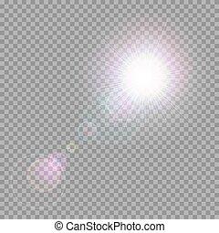 luz, brilhar, vigas