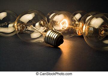 luz, brillante, bombilla