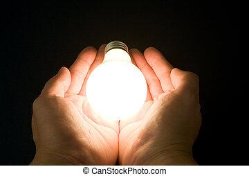 luz, brillante, bombilla, mano