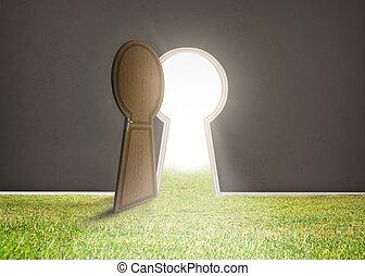 luz, brillante, pasto o césped, puerta, apertura