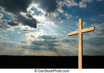 luz, brillar, en, cruz