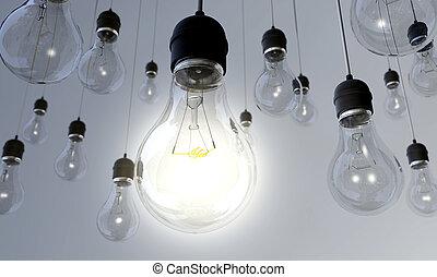 luz, -, bulbo, comutado