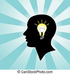 luz, cabeça, bulbo