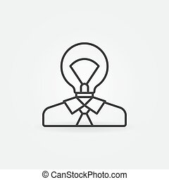 luz, cabeça, homem, ícone, bulbo