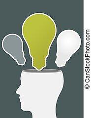 luz, cabeça, idéias, human, bulbo