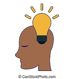 luz, cabeça, símbolo, human, bulbo