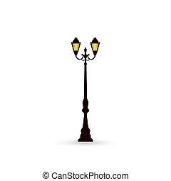 luz, calle, icono