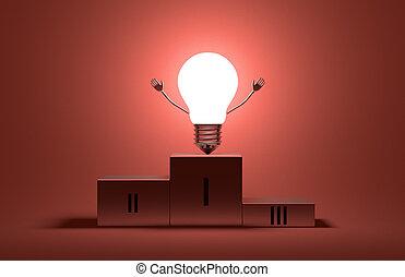 luz, carácter, encendido, triunfante, podio, bombilla