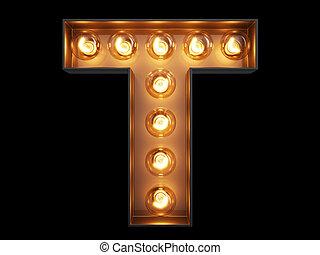 luz, carácter,  T, alfabeto, bombilla, fuente