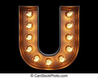 luz, carácter,  U, alfabeto, bombilla, fuente