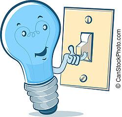 luz, caricatura, bombilla