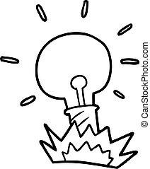 luz, caricatura, bulbo
