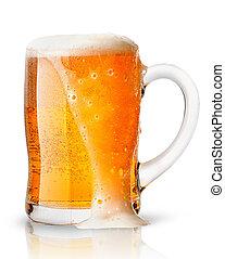 luz, cerveja, com, espuma, em, assalte