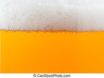 luz, cerveja, fundo, com, espuma