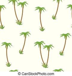luz, coloreado, tropical, con, verde, árboles de palma, y, coco, seamless, patrón