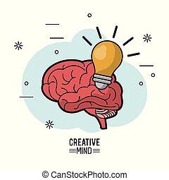 luz colorida, mente, criativo, cérebro, cartaz, bulbo