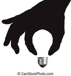luz, conceito, idéia, bulbo, mão