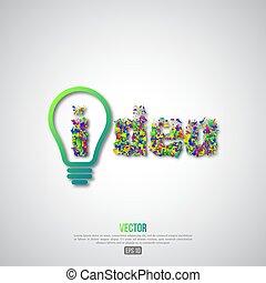 luz, conceito, idéia, fundo, bulbo