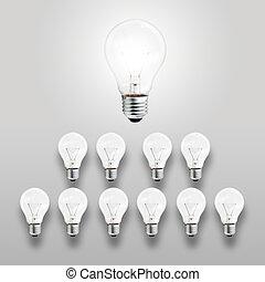 luz, concepto, líder, bombilla