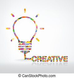 luz, creativo, concepto, idea, bombilla