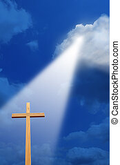 luz, crucifixos, acima