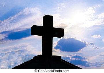 luz, cruz, espalda