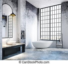 luz, cuarto de baño, vacío, desván, copyspace