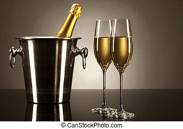 luz, cubo, dos, botella, espejo, champaña, punto, anteojos