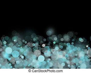 luz, cyan, bolhas, fundo