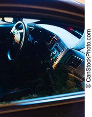 luz de automóvil, espalda, noche