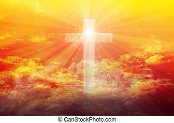 luz, de, cielo, o, cielo, brillo, depresión, crucifijo, o, cruz, forma, en, colorido, dorado, brillar, hinchado, nubes, cielo, cielo, soñador, cielo, con, crucifijo, o, cruz, y, dios, luz