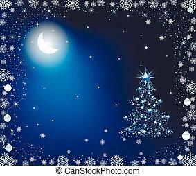 luz de la luna, árbol, navidad