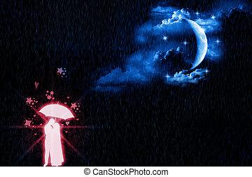 luz de la luna, amantes, brillar