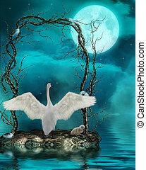 luz de la luna, cisnes