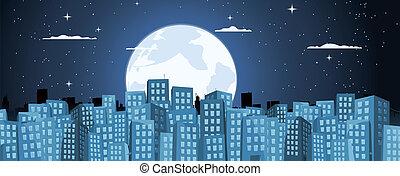 luz de la luna, edificios, caricatura, plano de fondo